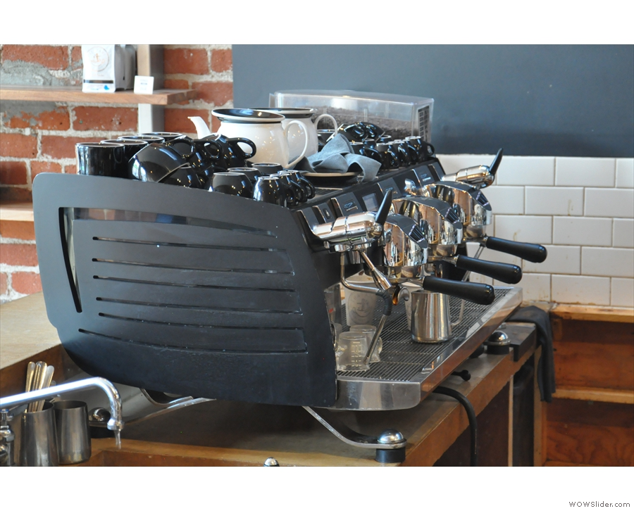 Espresso is handled by this three-group Victoria Arduino Black Eagle.