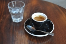 So, to coffee. I began with the Maiden Voyage espresso blend, served with sparkling water.