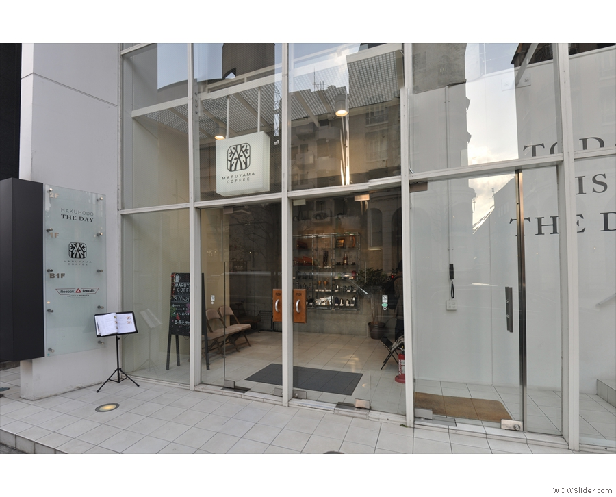 Maruyama Coffee's branch in Nishi Azabu looks rather small at first...