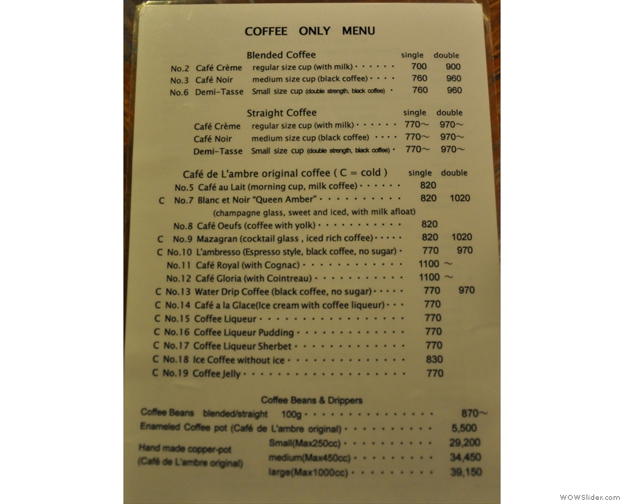 Page one of the menu: regular coffee and coffee concoctions...