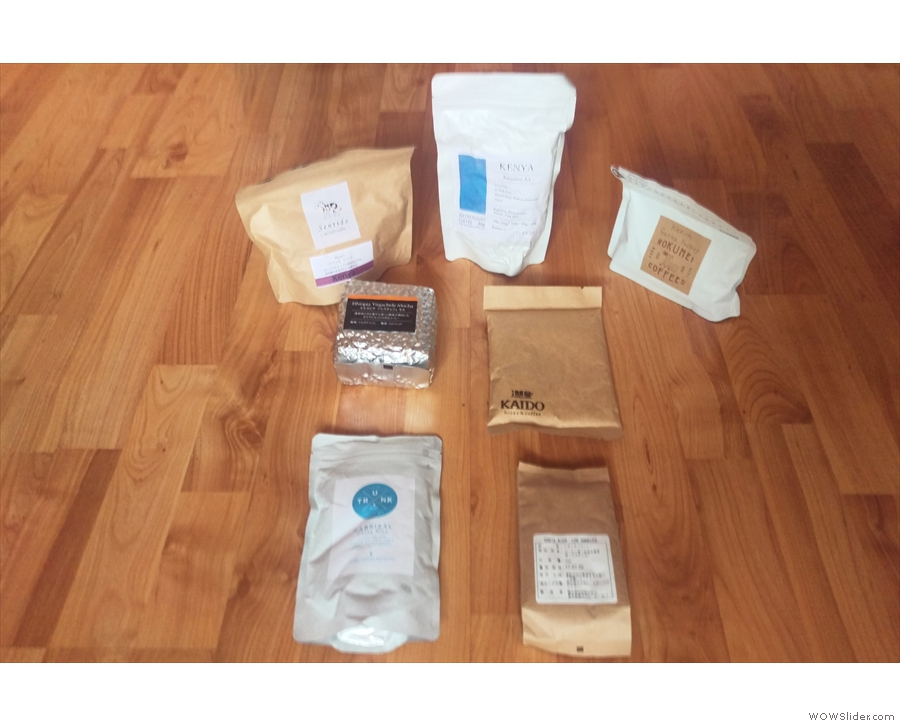 My full haul for the Japanese Coffee Cupping at this year's Glasgow Coffee Festival.