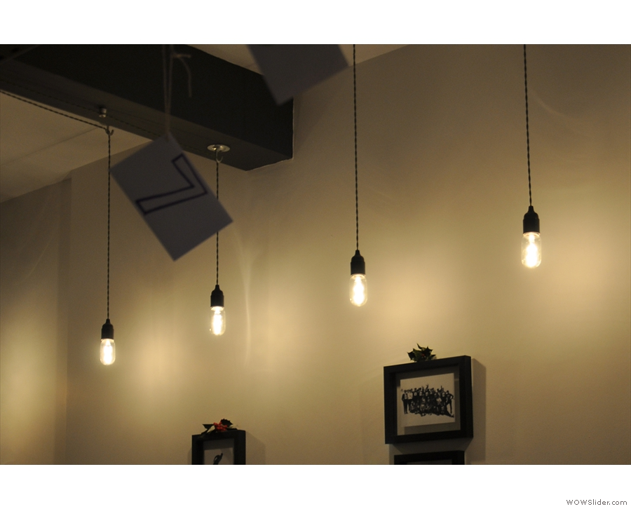 ... and these exposed bulbs hanging over the bar on the right.