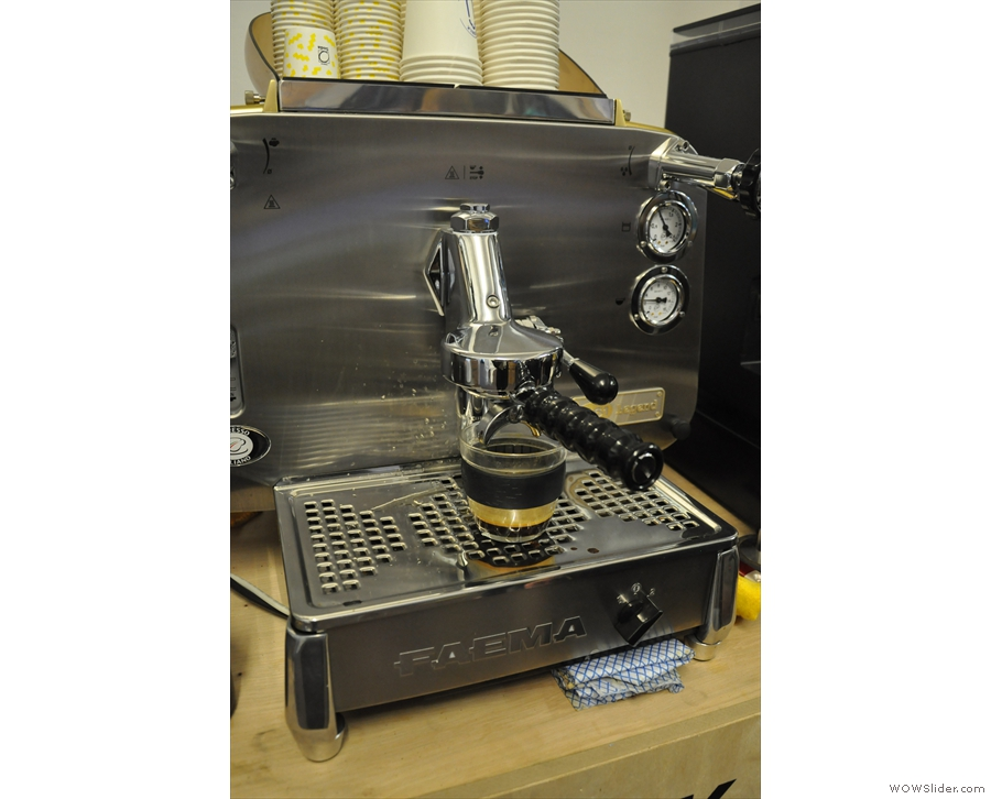 So, let's put it to the test shall we? Oh look! Here's a handy Faema E61. Let's make coffee!