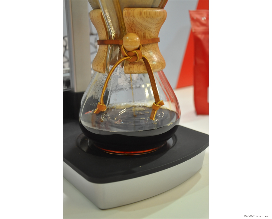 ...as the coffee filters through more slowly than the water is delivered.