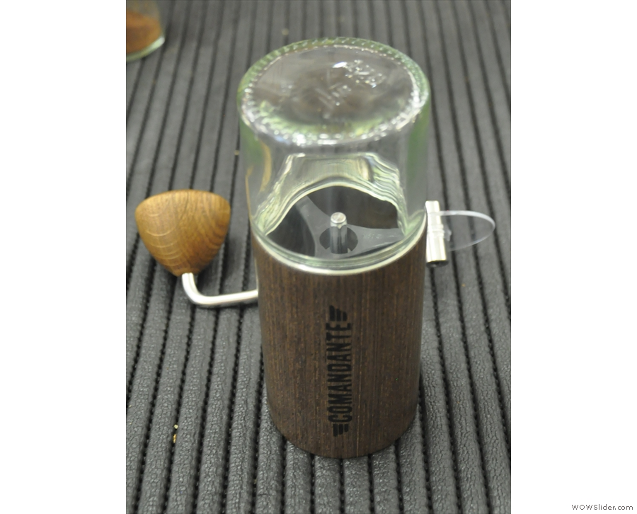 Inverting the whole ensemble instantly fills your grinder with beans! Genius.
