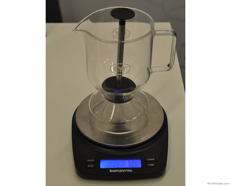 There was also a new product, a glass brewer designed to replicate the cupping process.
