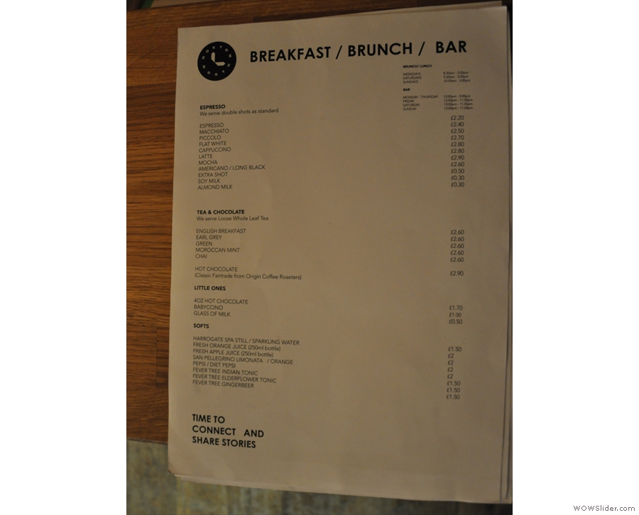 The extensive menu is on the counter: this is the drinks menu...