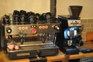 Coffee comes from the two group La Marzocco in the corner...