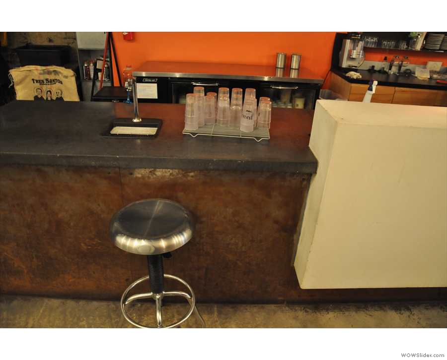 There's also a solitary bar stool by the counter back there.