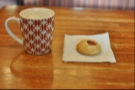 My latte and a very fine pecan cookie.