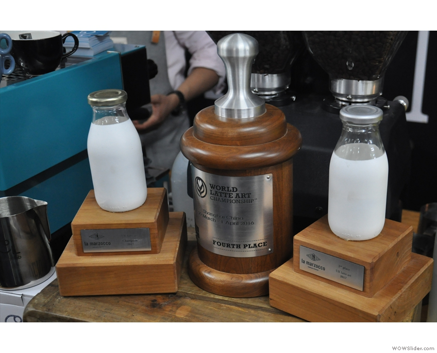 Some of Dhan's trophies. He's 5-time UK Latte Art Champion & was 4th in the world in 2016.