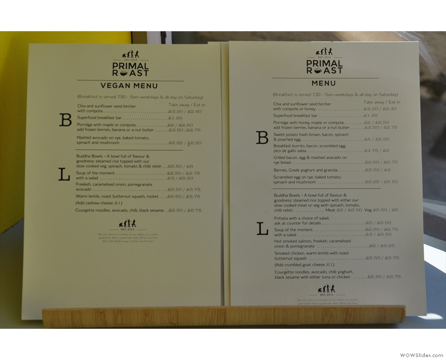 ... while detailed breakfast and lunch menus are also available.
