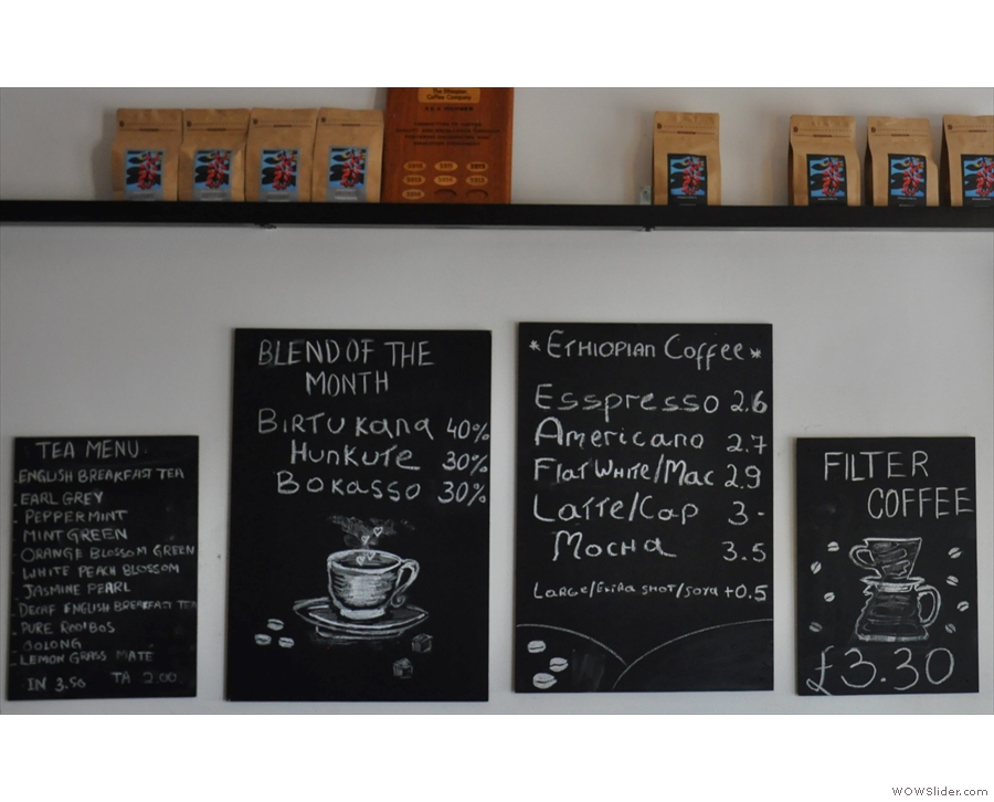 The coffee choices: a monthly espresso blend, pour-over, plus a wide range of tea.