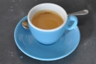 I decided to go for a shot of espresso, served in a glorious blue Inker cup.