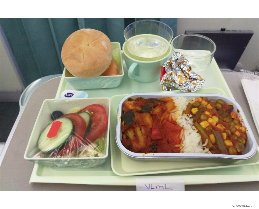 We were served two meals on the flight, lunch, which came just after take off...