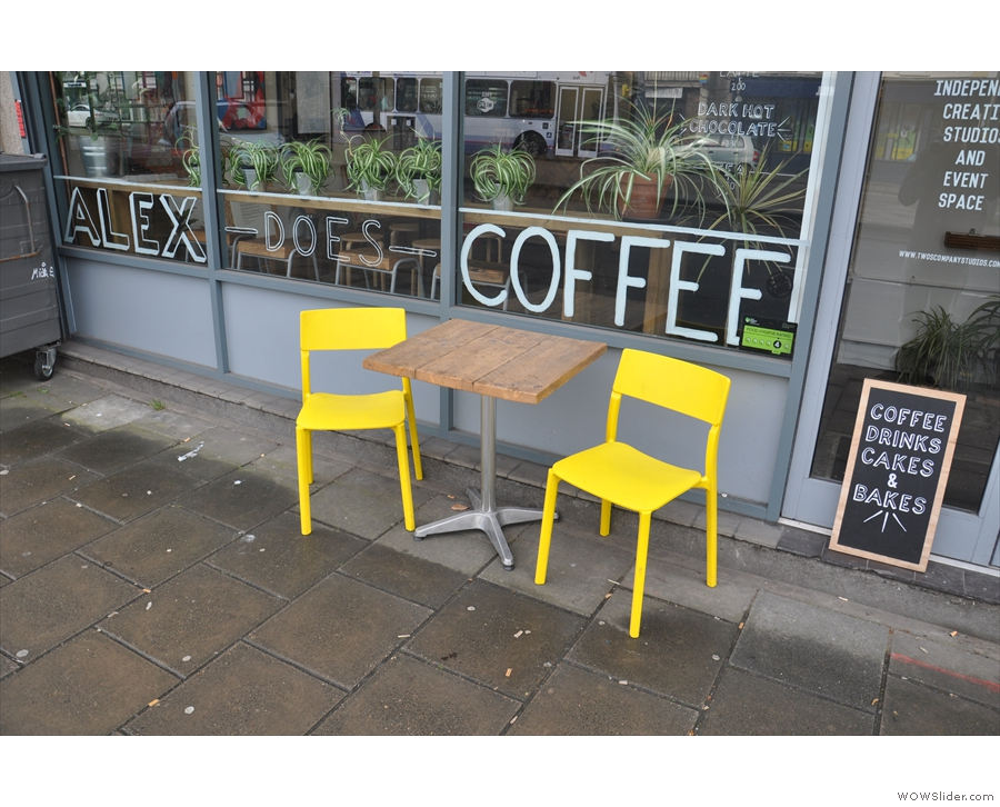 On closer inspection, it's also home to Alex Does Coffee and some bright outside seating.