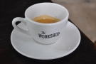 My double espresso, served in a large cup, using a blend of beans from Panama & Vietnam.