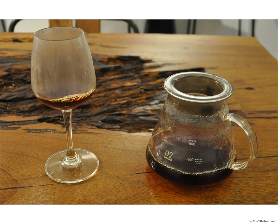 My coffee, in the glass, with the carafe on the side.
