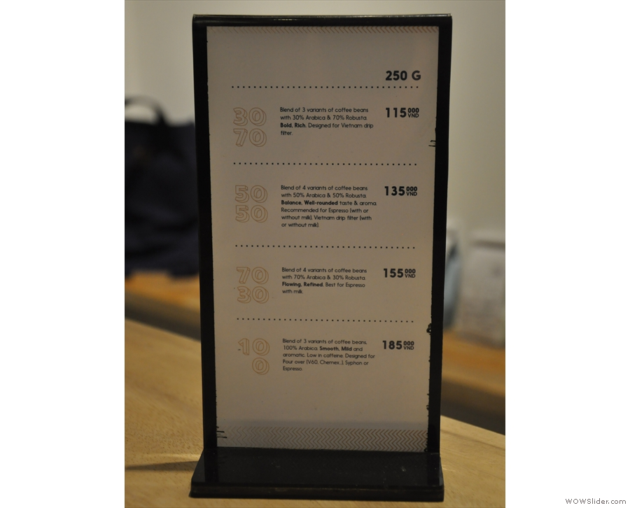 The retail menu.