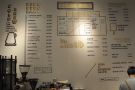 The coffee menu, meanwhile, is on the wall behind the counter and is a work of art in itself.