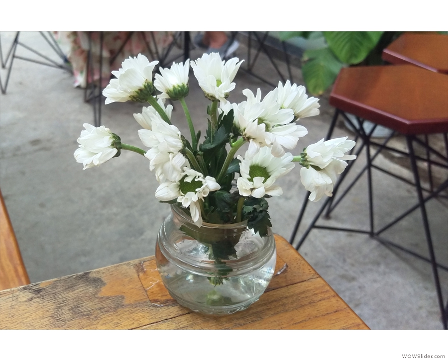 There are lots of nice touches at The Espresso Station, such as these flowers on the tables.