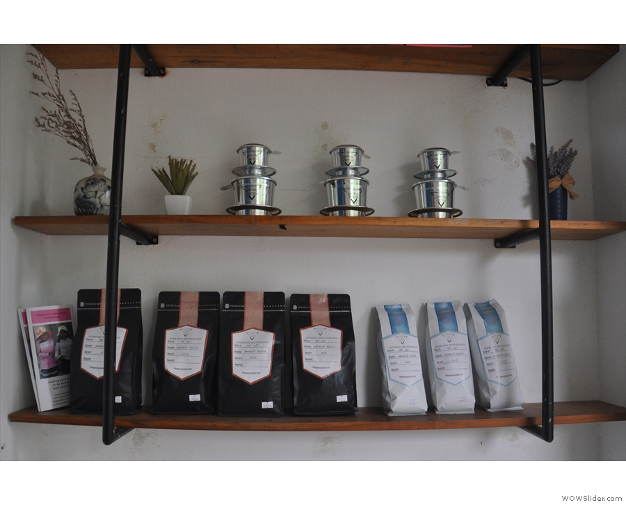 There are also coffee beans and traditional cup-top filters for sale...