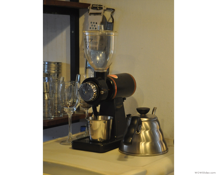 There's also a separate grinder for pour-over and retail sales.