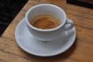 I started with something from the espresso machine, served in a large cup...