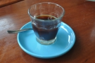 My coffee. I like it served like this, because it means that you can taste the black coffee...