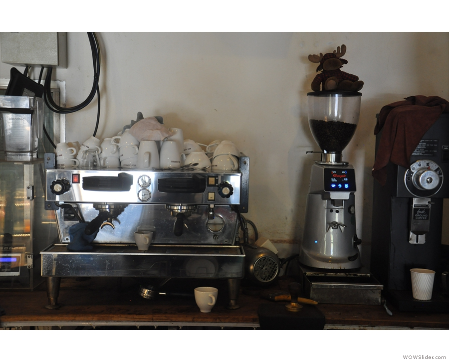 The espresso machine: a La Marzocco Linea, with paddles, plus a pair of grinders.