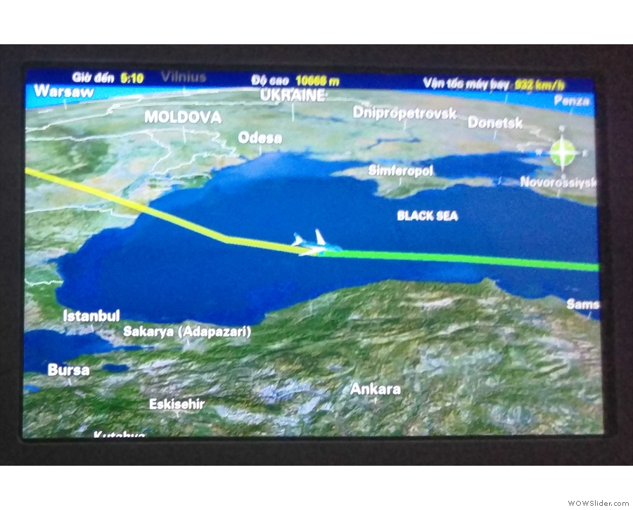 Compared to the flight back, we took a fairly southerly route, flying over the Black Sea...