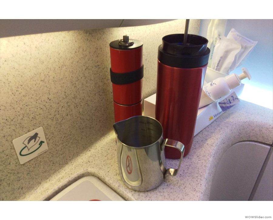 Naturally, my Travel Press and Knock grinder went into action to make me some coffee.