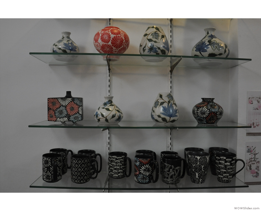 Some of the mugs and vases in more detail.