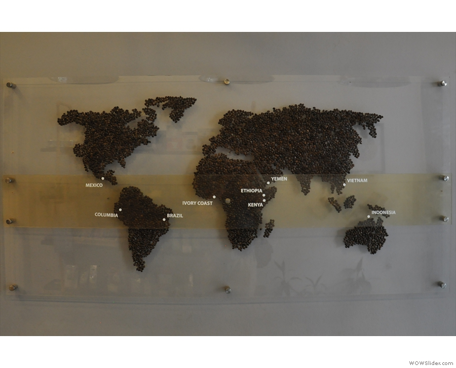 ... with this awesome map of the world, constructed of coffee beans.