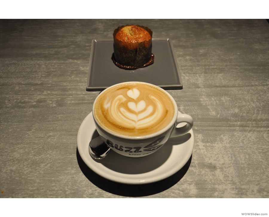 My coffee. And cake. A creamy cappuccino and a banana financier.