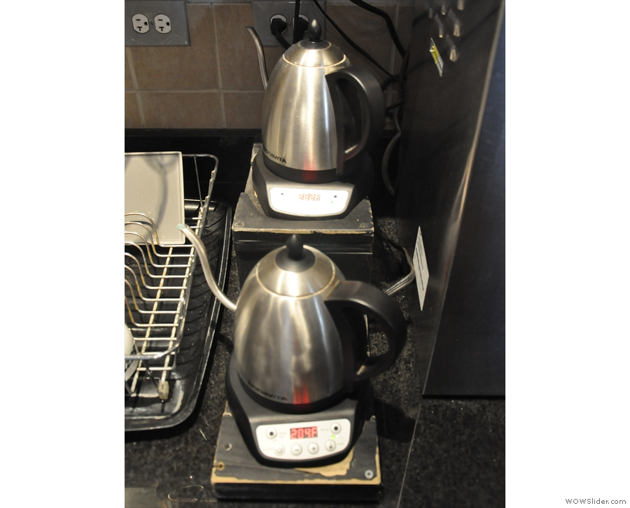 The kettles are also lined up back here, just waiting for the word to spring into action.