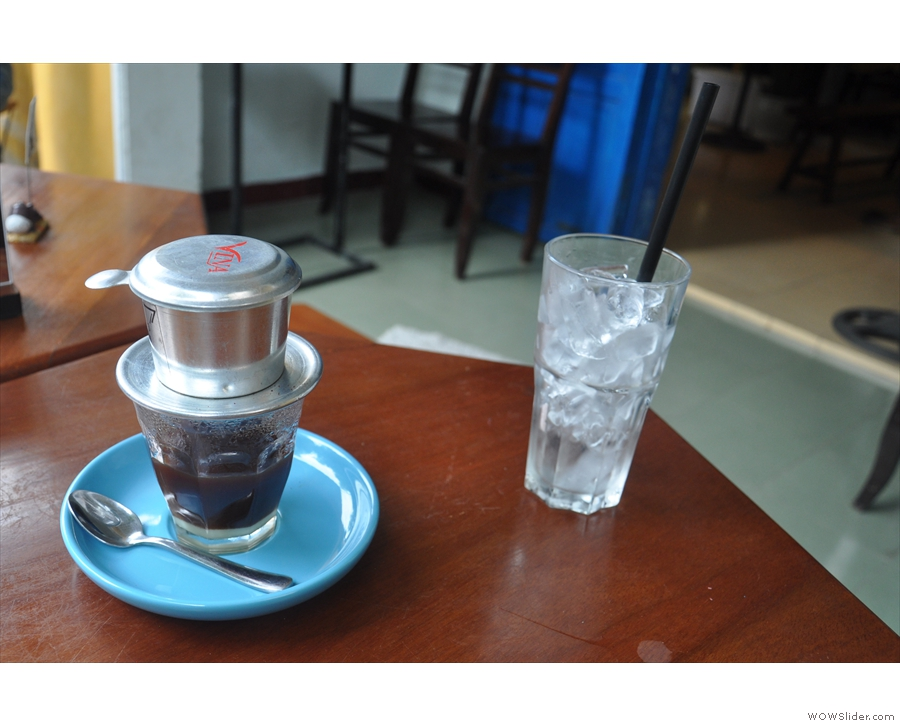 Finally, I tried a traditional cup-top filter over condensed milk, made with speciality coffee.