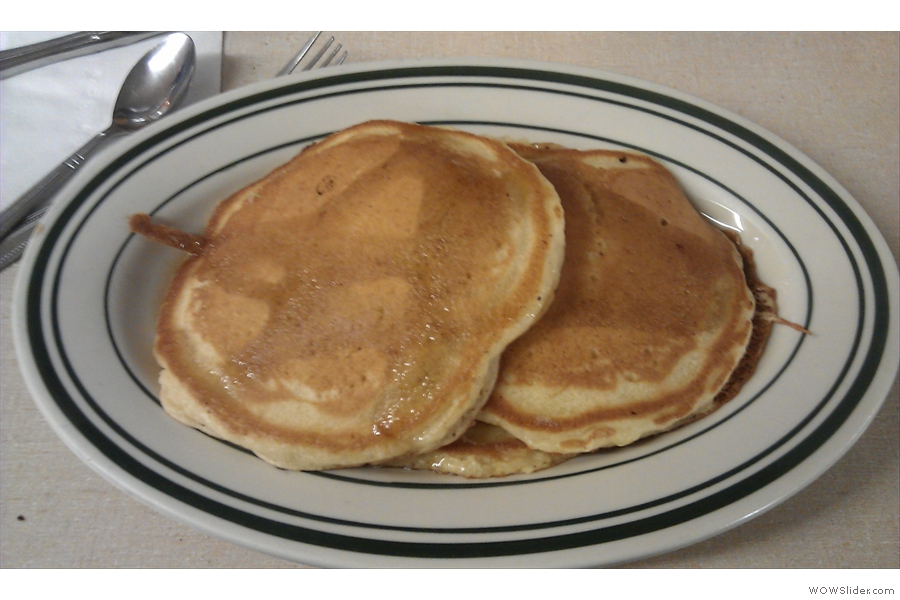 ...and my breakfast that day, a stack of three griddle cakes.