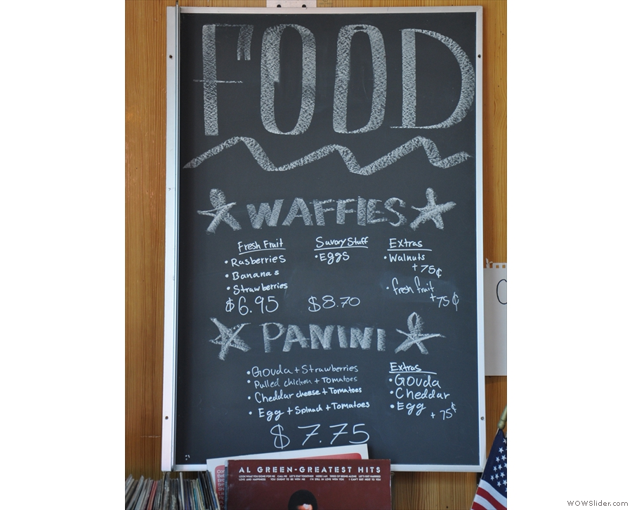 There's food in the shape of waffles and panini, all prepared on-site...