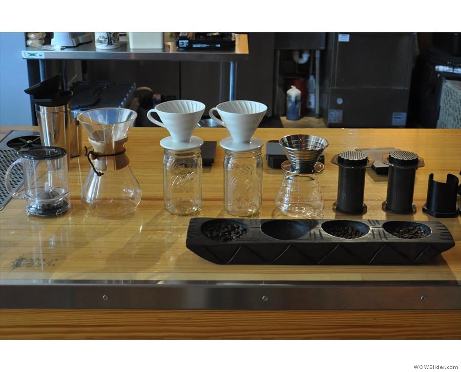Between the two stands an array of filter options: Chemex, V60, Kalita Wave, Aeropress.