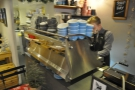 Time to go to work: Elliott makes my coffee on the Synesso.