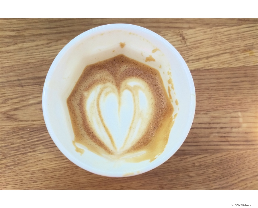 The latte art in detail.
