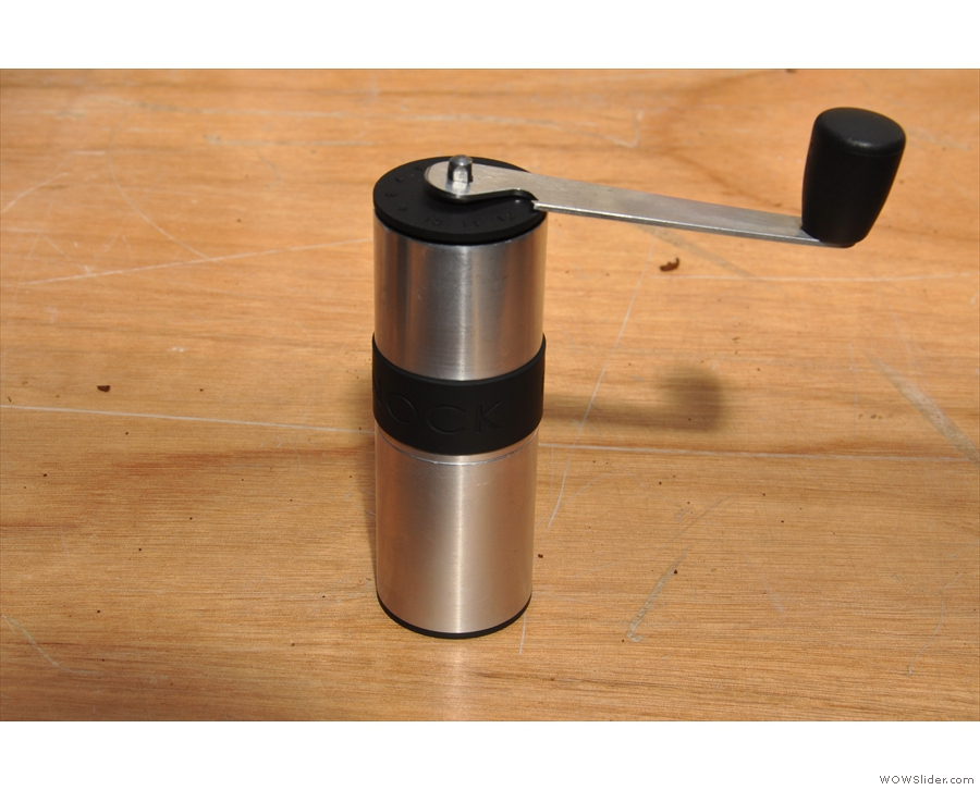 This is the new grinder, a sleek-looking beauty, which is Knock's smallest yet.