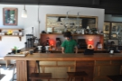 The coffee operation is on the left. Check out the hooks under the counter-top. Handy!