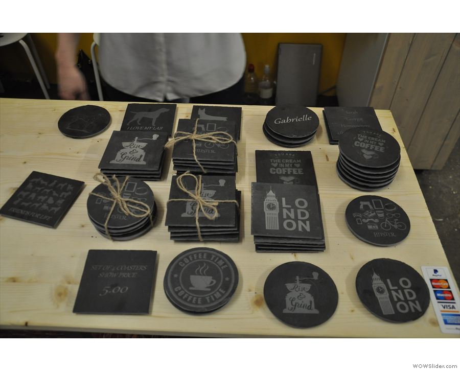 ... these caught my eye: personalised, engraved slate coasters. Watch this space!