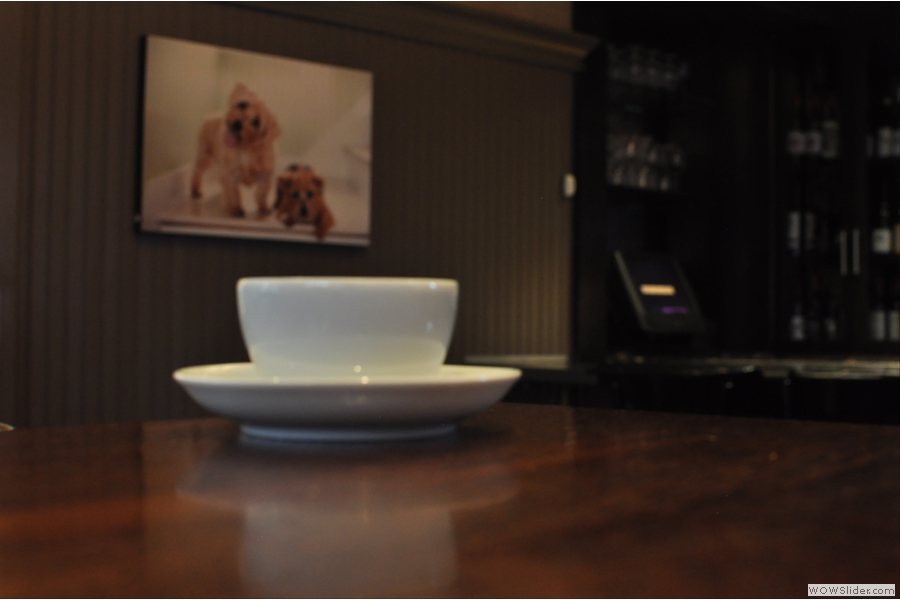 Finally, my coffee surveys the room. The owners are big dog-lovers and the interior is full of cute dog pictures...
