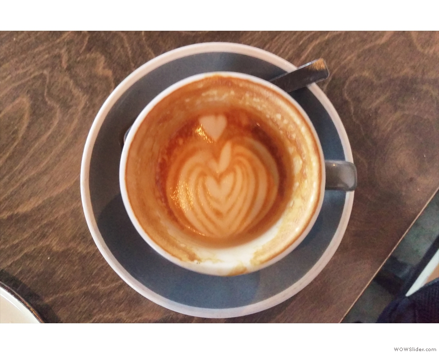 It's a good sign when the latte art lasts all way to the bottom of the cup.