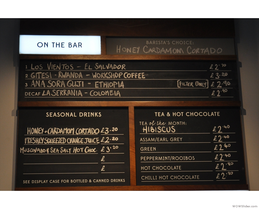 The extensive coffee offering is at the top of the menu.