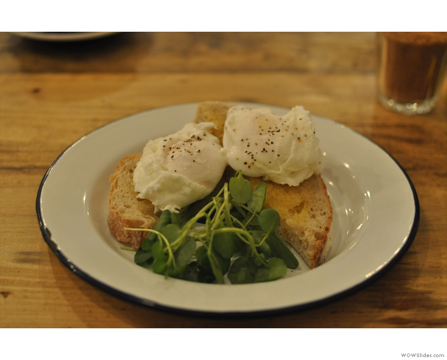 Poached eggs on toast. It was that or the pancakes.