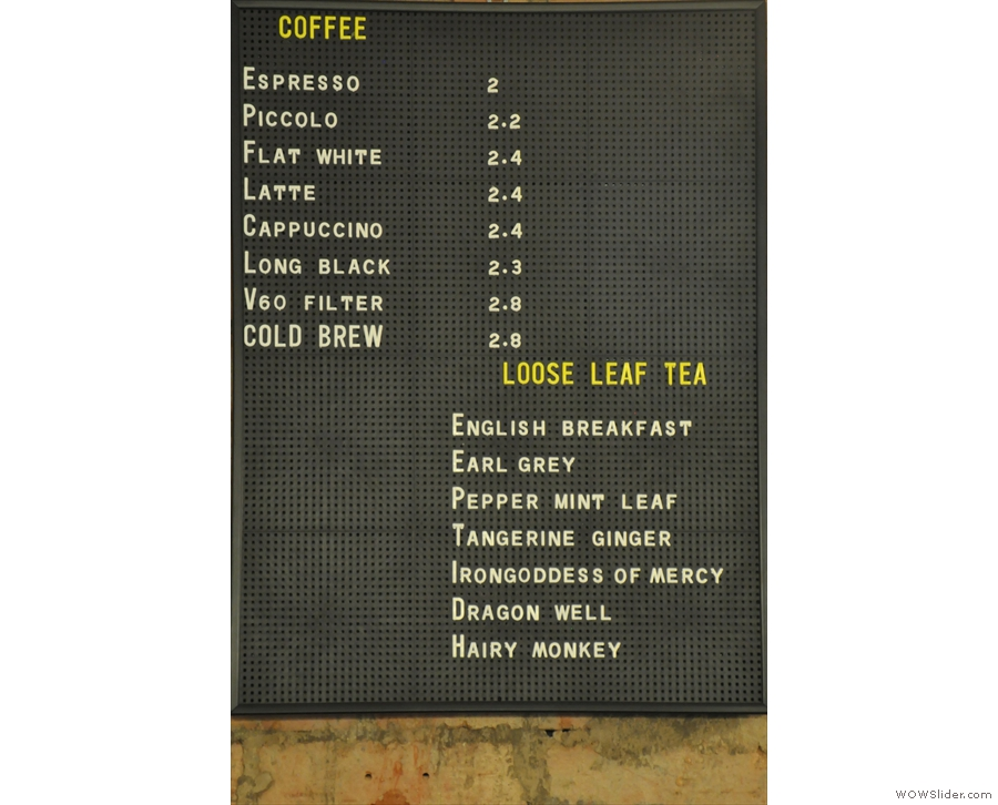 The coffee/tea menu is very concise. This is what it looked like in 2014...